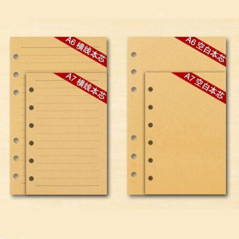80 Pages Retro Notebook A5/A6/A7 Paper Inner Pages Replace This Inner 6-hole Kraft Travel Notes Loose-leaf