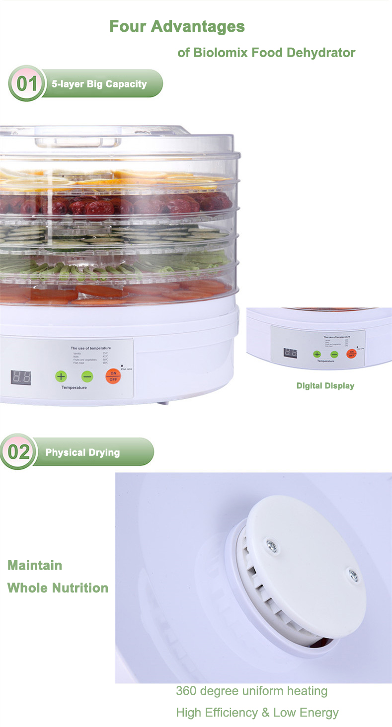 Digital Food Dehydrator Fruit Vegetable Herb Meat Drying Machine Snacks food Dryer Dried fruit Machine 5 trays EUUK Plug 220V (11)