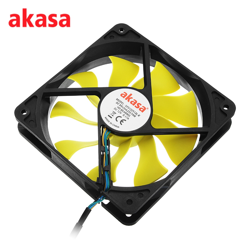 Akasa 12cm CPU Cooling Fan Ultra Quiet S-FLOW Cooler Fan Blade Design High Performance 4Pin PWM Auto Speed Control 4pin mgt8012yr w20 graphics card fan vga cooler for xfx gts250 gs 250x ydf5 gts260 video card cooling