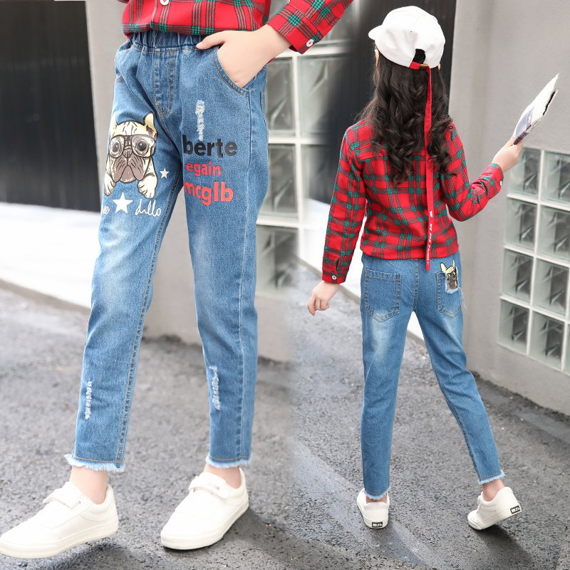 2018 Girls  Jeans Spring Summer Fall Style Trend Denim Trousers For Kids Children Stretch Pants dogs print for 3-15Y