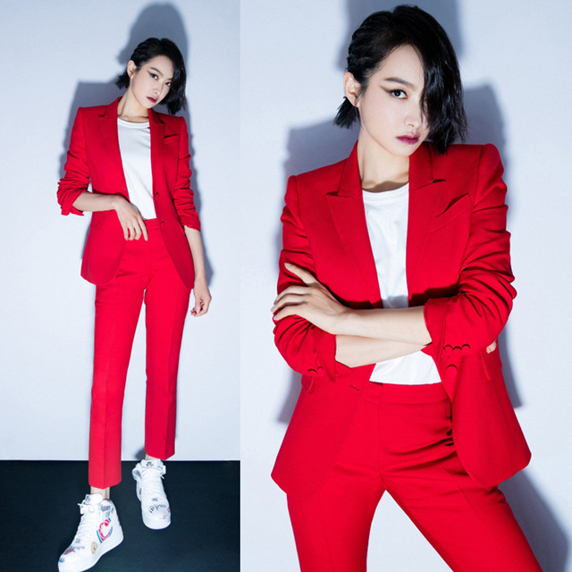 Suit female 2018 autumn temperament professional casual red suit jacket + nine pants elegant fashion two-piece women's clothing