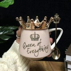 Copa Corona Rosa viento nórdico INS taza Correa cuchara café taza creativa cerámica agua leche para tazas y tazas de desayuno regalo de la muchacha de