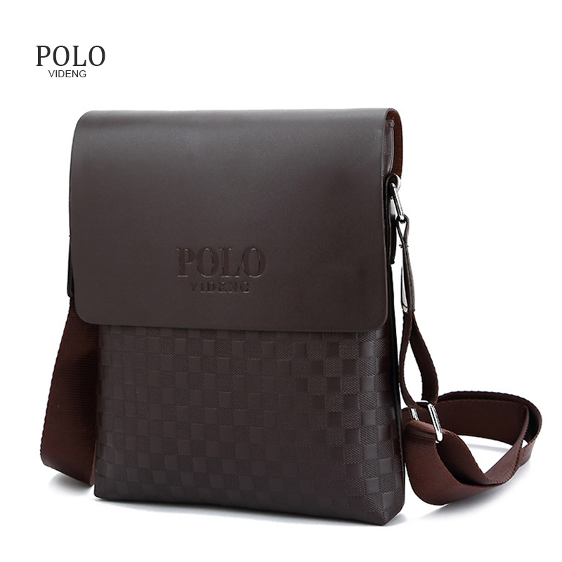 Luxury Briefcase Plaid POLO Bag Men Messenger Bags PU Leather Shoulder Bag Business Crossbody Bags for Male Bolso Hombre men pu leather messenger crossbody bag briefcase shoulder bag pure color simple business hand bag free shipping