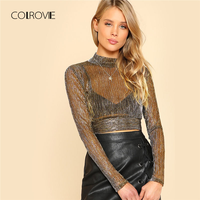 COLROVIE 2018 New Mock Neck Metallic Mesh Women Top Spring Stand Collar Long Sleeve Party Blouse Slim Fit Crop Blouse