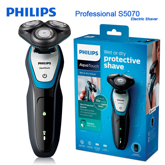Philips Professional Electric Shaver S5070/04 Aquatouch Wet & Dry Function ComfortCut Blade System 40min Cordless Use/1h Charge