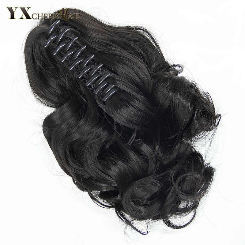 "YXCHERISHAIR 10"" Claw Clip in Hair Ponytails Synthetic Kinky Curly Hair Extensions for Women Girls Natural Black Blonde Brown"