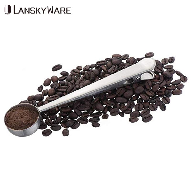 1PC Coffee Tea Measuring Scoop Spoon Multifunction Stainless Steel Coffee Spoon With Clip Tea Coffee Scoop Kitchen Accessories in Coffee Scoops from Home Garden