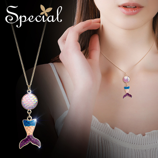 The Special New Fashion euramerican Ocean series short necklace chain pendant with thin rainbow mermaid party,S2023N