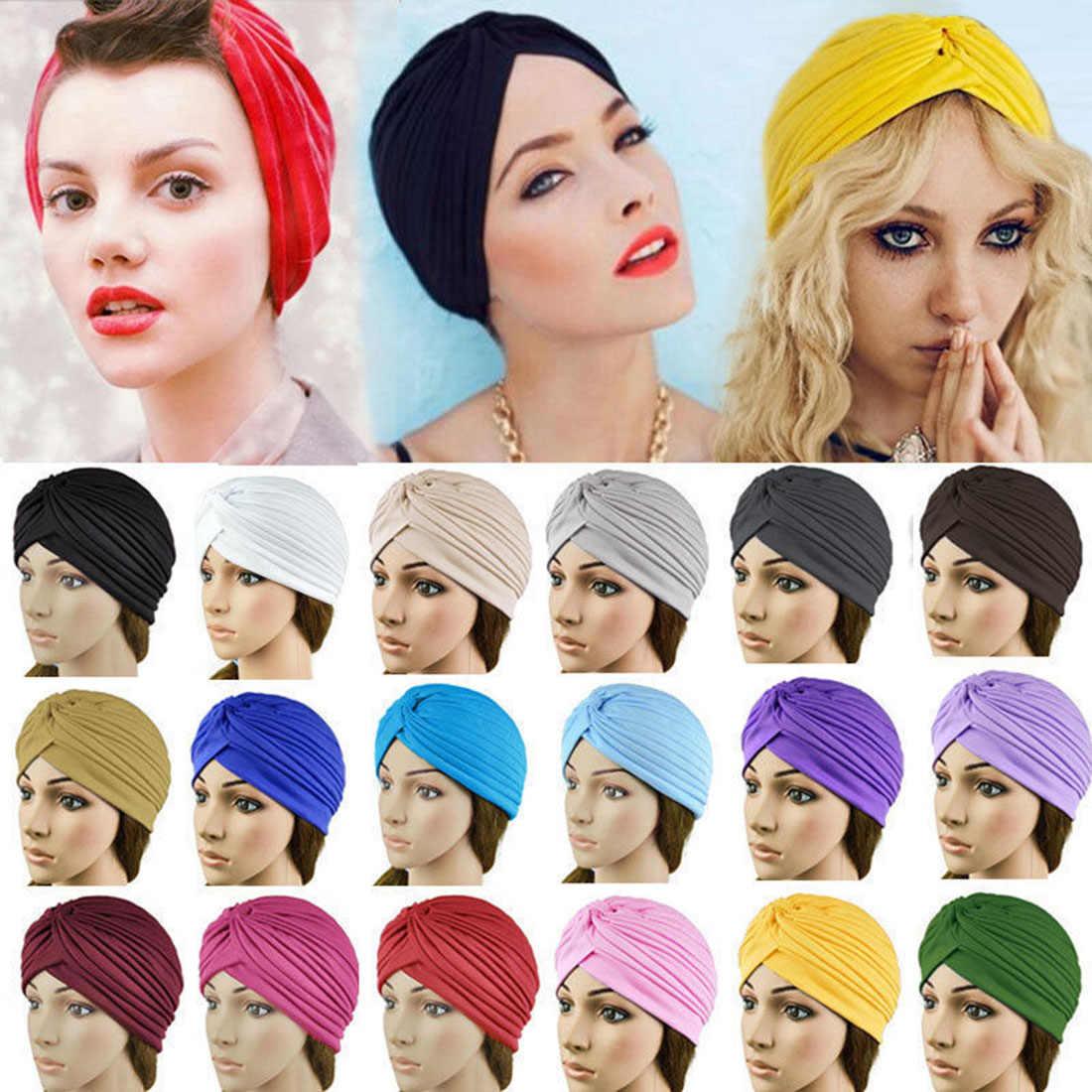 2019 nueva llegada de algodón sólido pañuelos elástico turbante sombrero musulmán de nudo indio tapa adultos mujeres accesorio para el pelo