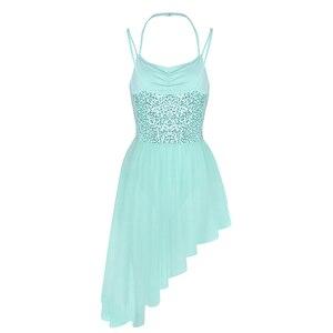 Image 3 - Women Adult Ballet Dress Spaghetti Straps Sleeveless Halter Neck Sequins Irregular Tulle Ballet Dance Gymnastics Leotard Dress