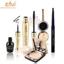 1Set=5Pcs Lotus Series 5Pcs Makeup Set Mascara and Eyeliner Liquid and  Eyebrow and Powder Makeup Brand EFU #EFU001B