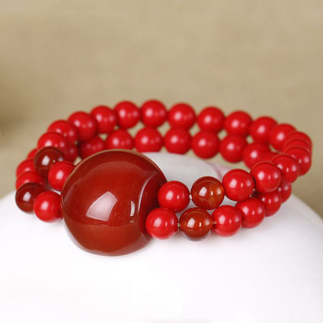 Kyszdl Fashion Red Cinnabar Bracelet Men And Women Stone Beads Jewelry Gift