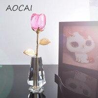 25 cm AOCAI crystal pink rose fiore per la madre fidanzata regalo cara mestieri di nozze Decorazione Della Casa Artigianato bonsai