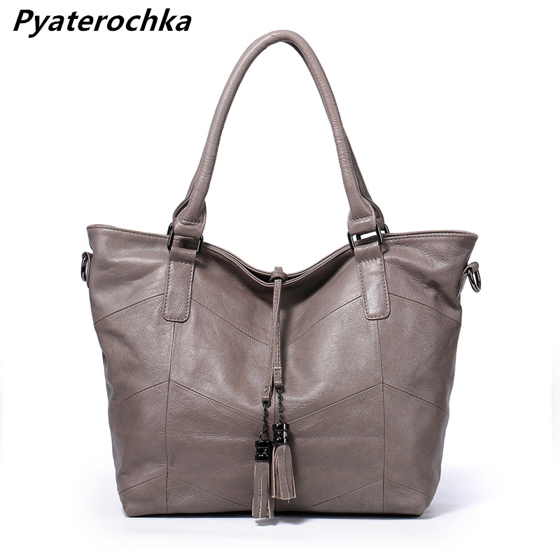 Pyaterochka Famous Brand Women Real Leather Handbags Tassel Shoulder Messenger Bag Large Capacity Tote Fashion 2018 Luxury Bags 2pcs set pu leather women handbags famous brand star tassel women bags large capacity tote bag luxury elegant handbag leather
