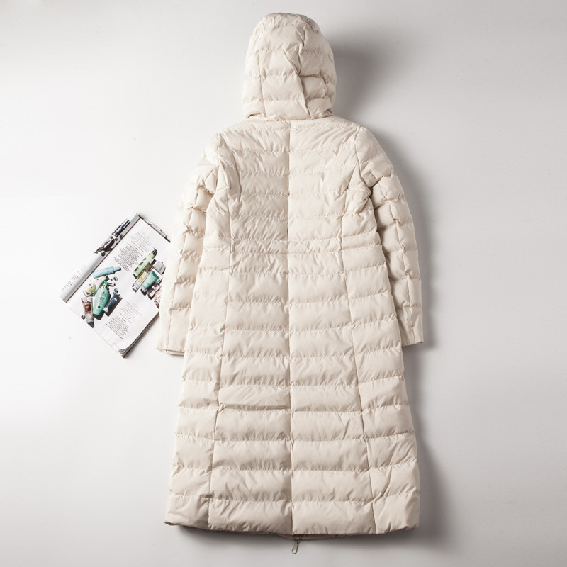 Veste Capuchon Zipper Parkas 10509 À Droite white Coréenne Mode Manteau 2018 D'hiver Oceanlove Casual Black De Solide blue Double Poches Femmes Long ZxBpg54w