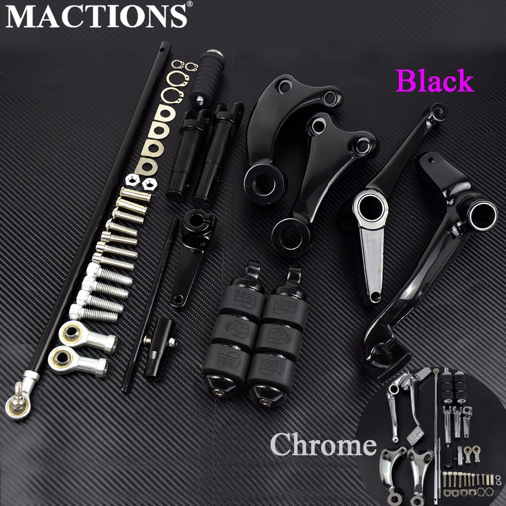 Motorcycle Black Chrome Forward Controls Complete Kit Pegs Levers Linkages For Harley Sportster XL 883 1200