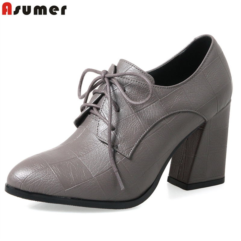 ASUMER Plus size 34-43 New 2018 New fashion lace up women pumps pointed toe thick high heels spring office lady dress shoes women s embroidered office dress spring and summer new vintage embroidery plus size elegant slim lady midi a line dress m 4xl