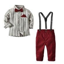 2 7 ปีเด็กชุดสำหรับงานแต่งงานชุดเครื่องแต่งกายชุดเด็ก 4PCS Bow + เสื้อ + เข็มขัด + กางเกงเด็กชุดสีแดงสีเทา