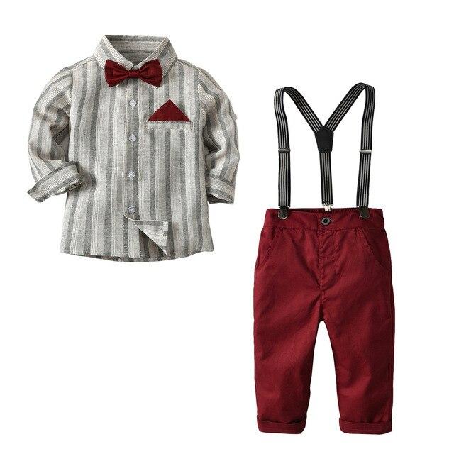 2 7 년 소년 정장 웨딩 의류 세트 의상 어린이 정장 4PCS 보우 + 셔츠 + 벨트 + 바지 어린이 세트 레드 그레이
