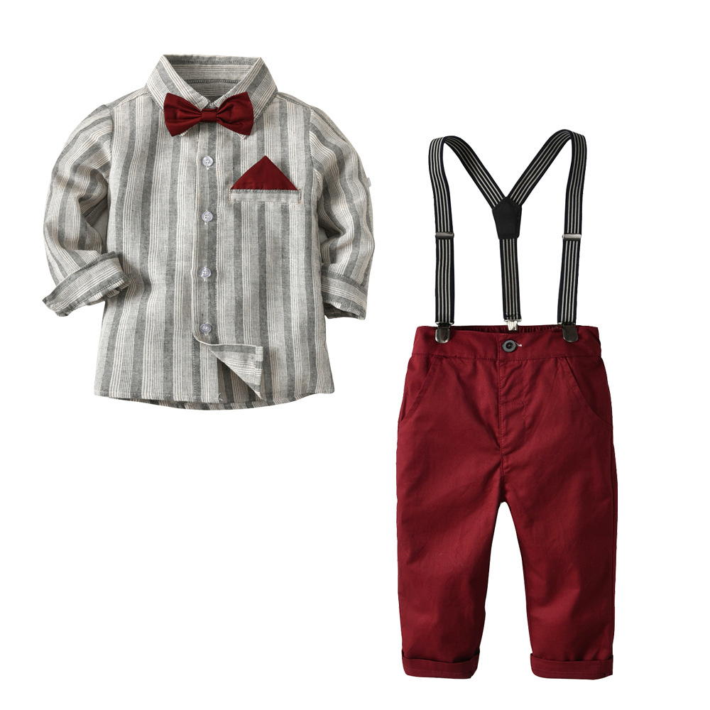 2-7 Years Boys Suits For Wedding Clothes Set Costume Kids Suits 4PCS Bow + Shirt + Belt + Pants Children Sets Red Grey