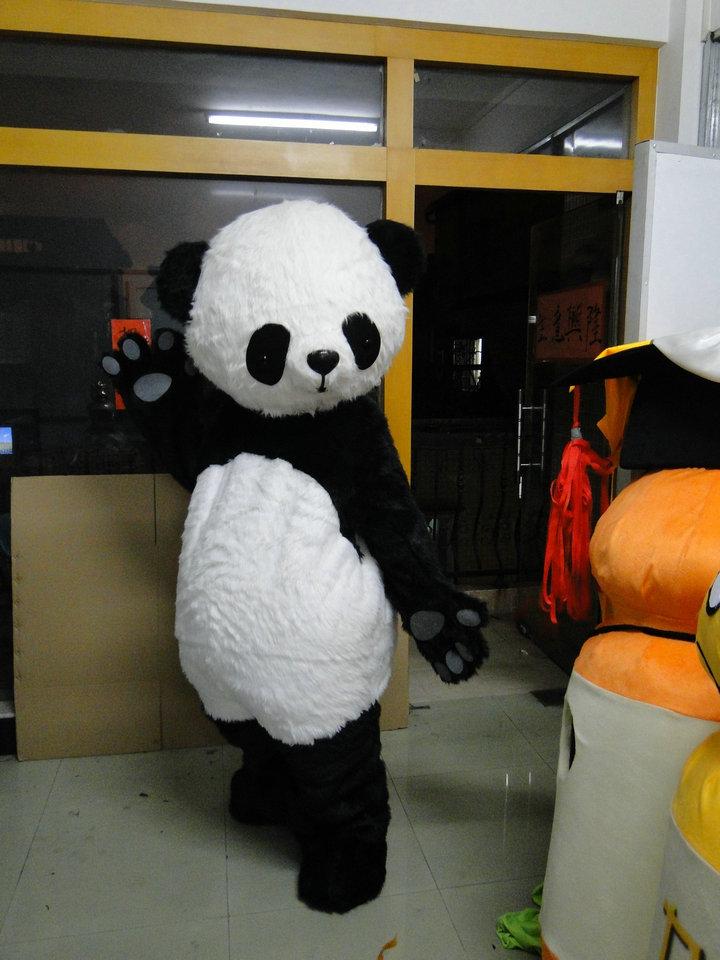 Panda Mascot Costume Cizgi filmi Panda sürətli göndərmə üçün - Karnaval kostyumlar - Fotoqrafiya 2
