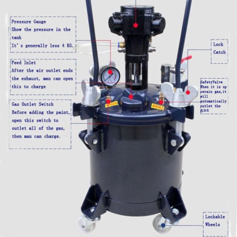 8gal 30L Pressure Feed Paint MixerTool Pot Tank Sprayer Regulator Air Agitator Paint Tool Pressure Mixing