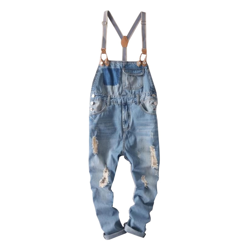 Hip Hop Streetwear Bib Pants Overall Jean Fashion Men Jean Overalls Ripped Bib Jeans For Men Male Ripped Denim Jumpsuit