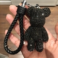 Rhinestone Bear Key Chains Sparkly  Bear Pendants Car Keys Ring Leather Lanyards Rope Metal Ring Keys Holder Bag Charm Shiny