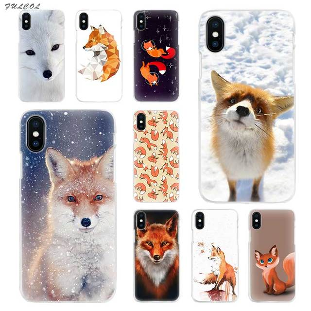 brand new c35d8 f9c37 US $1.5 37% OFF|Fulcol lovely cute snow fox Transparent Patterned Hard case  Cover for iphone 5 SE 6s plus 7s plus 8 Ten X-in Half-wrapped Case from ...