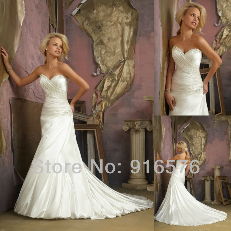 A Line Wedding Dress Women Bridal Dresses Dropped Waist