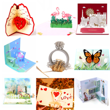 лучшая цена Gold Laser Cut 3d Ring Pop up Wedding Invitations Romantic Handmade Valentine's Day for Lover Postcard Greeting Gift Card