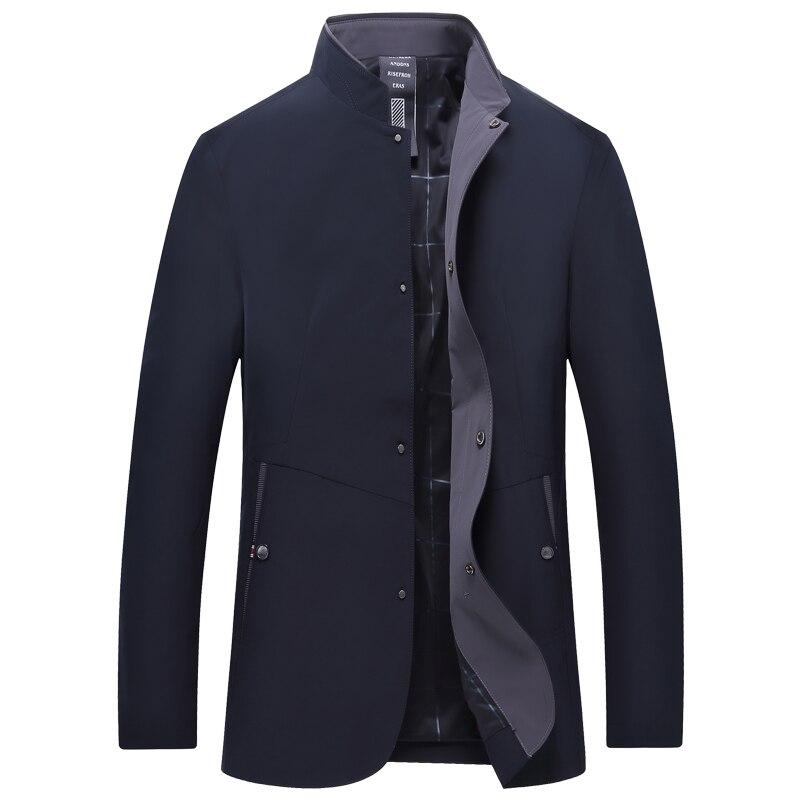 Весенне осенняя мужская куртка с воротником стойкой, ветровка, мужская темно синяя темно зеленая бейсбольная куртка, Повседневная тонкая, в... - 3