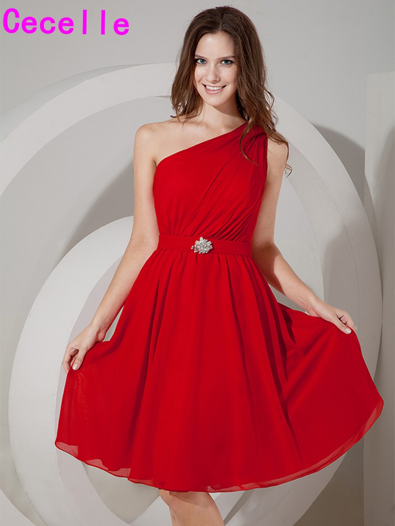 Compare prices on cheap red bridesmaid dresses online shopping simple one shoulder red a line chiffon beach bridesmaids dresses cheap maids honor dresses wedding ombrellifo Gallery