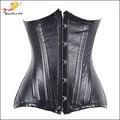 Newest 18 Full Double Steel Bone Waist Trainer Corset Black Sexy Bustiers For Women Tummy Control Corselet Waist Cincher -B