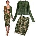 Blusa Entallada Falda tubo Set de Camuflaje de la Marca Impresa Alta Cintura Lápiz falda + Cuello En V Manga Larga Verde Mujeres Rebecas Del Suéter XL