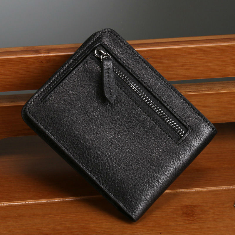 Mini Coin Purse Cow Leather Black Short Wallets Soft Genuine Leather Men Women Moneybags Card Holder Wallet With Zipper (RB5501)
