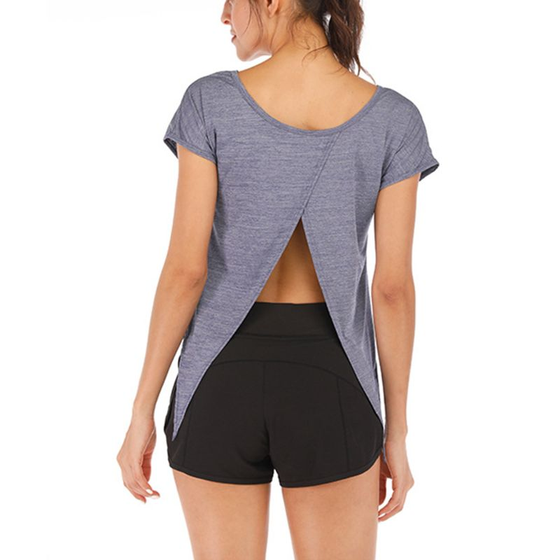 Women Open Back Top Short Sleeve Sport Shirts Lightweight Breathable Fitness T shirt Tie Back Tops Gym Workout in T Shirts from Women 39 s Clothing