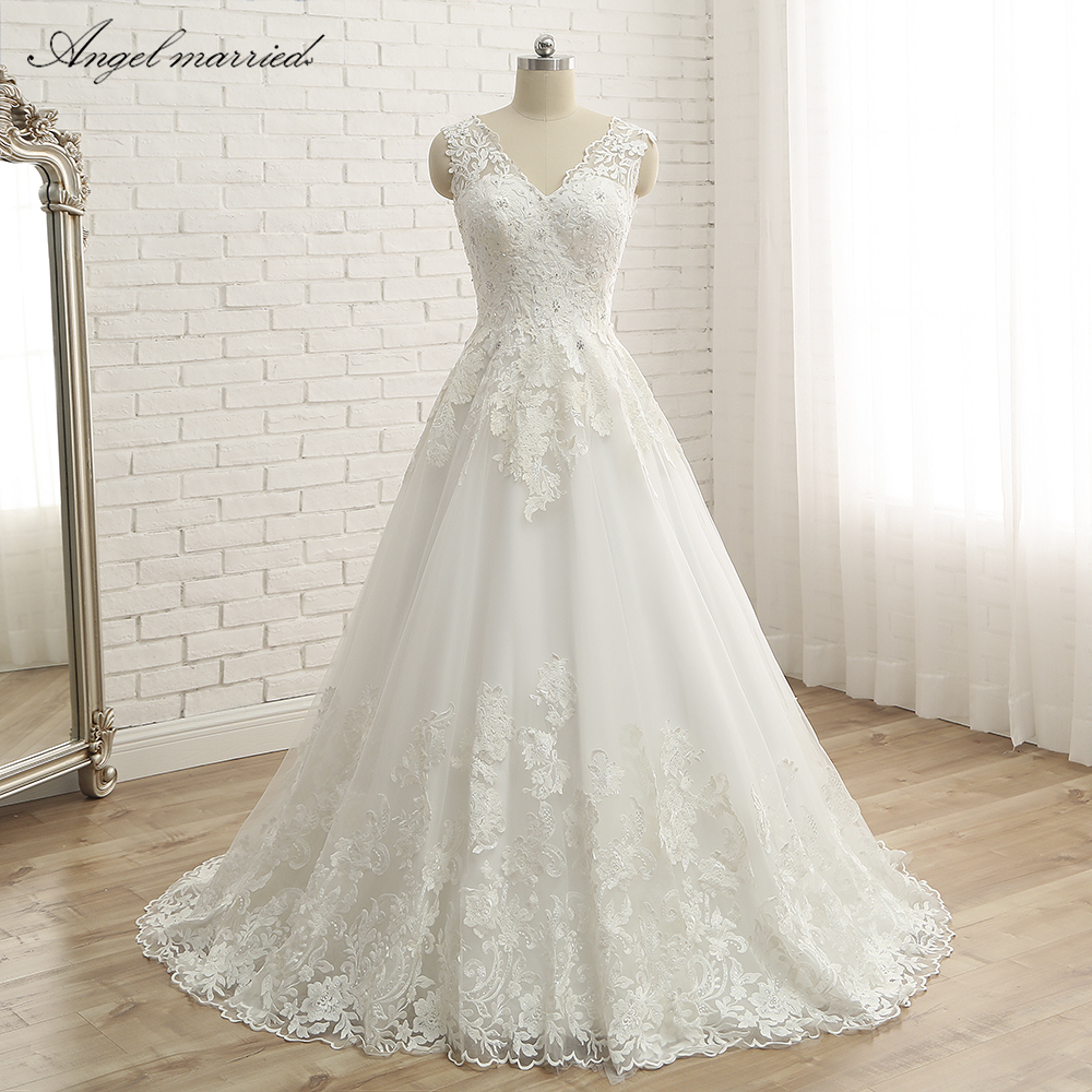 Angel Married wedding dress Vintage lace Bridal Gowns a line High Quality Lace long Length Wedding