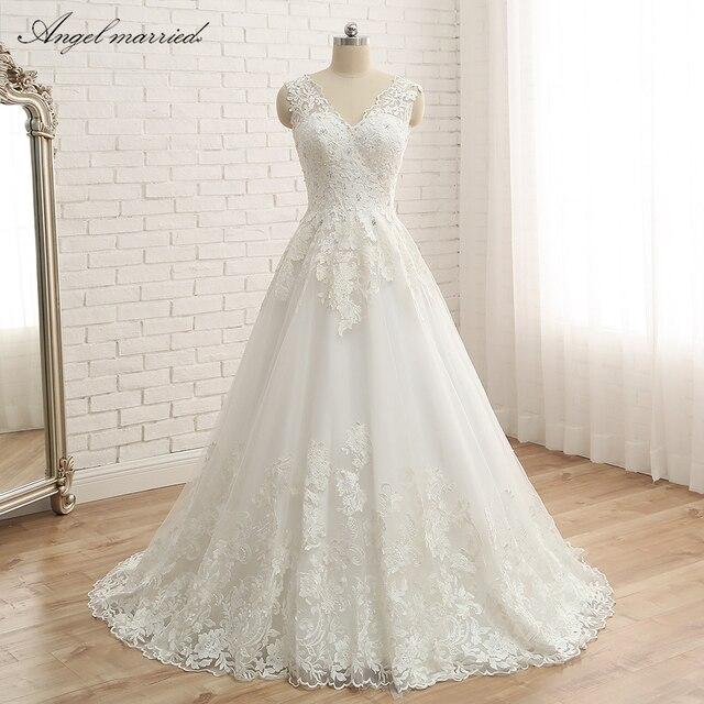 224b808232824 Ange marié robe de mariée Vintage dentelle robes de mariée une ligne de  haute qualité dentelle