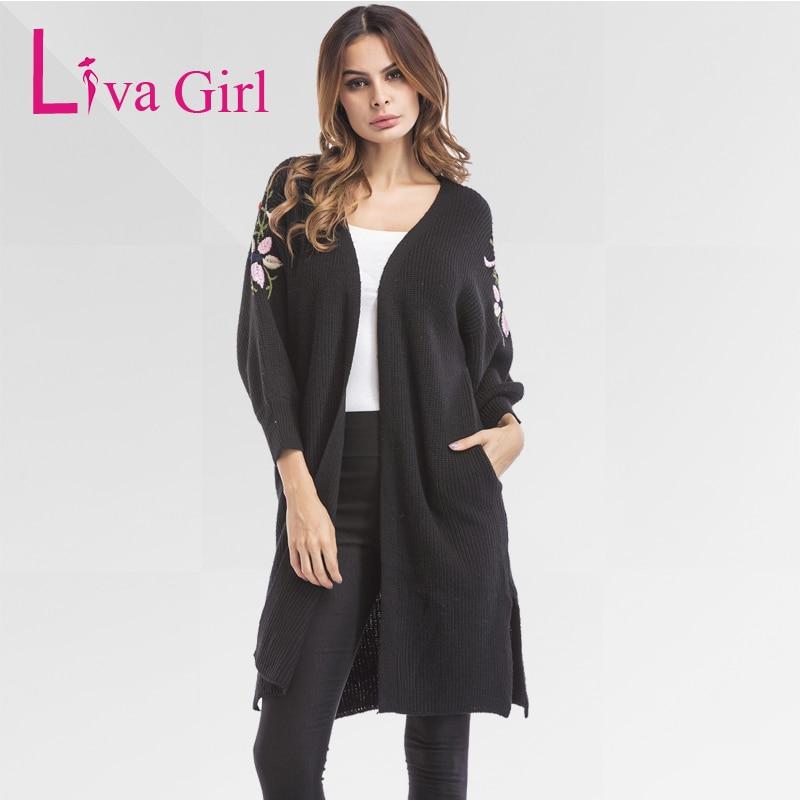 Liva Girl Long Sweater Cardigans Autumn Winter Open Stitch Pockets Sweaters Jacket Womens Knitted Female Three Quarter Cardigan
