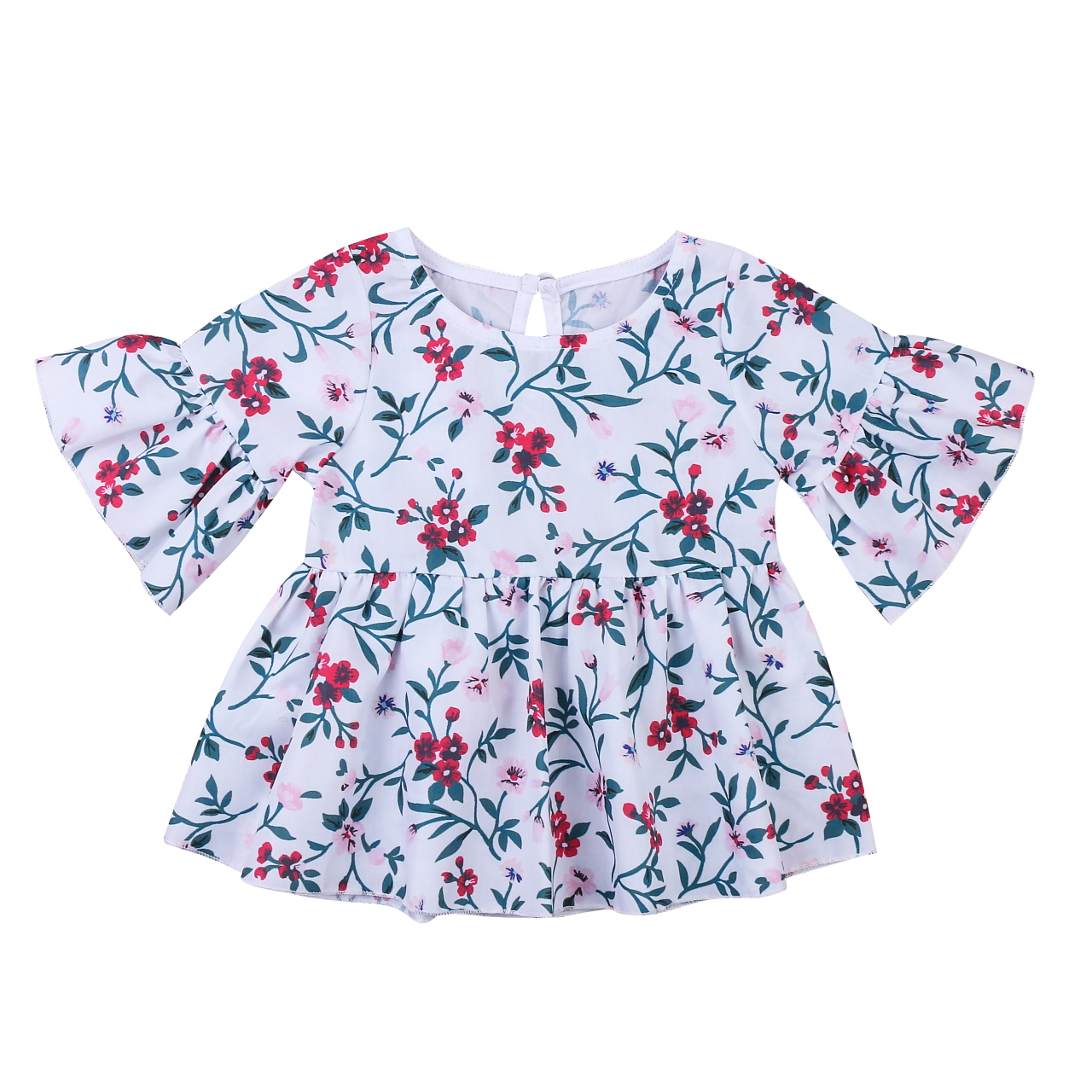 Floral Toddler Kids Baby Girls Clothes Summer Print Flower Dress Tops Blouses 0-5Y