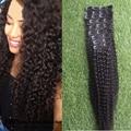 Brazilian Kinky Curly Human Hair Clip In Extensions 100g  #2 Dark Brown Curly Clip-In Hair Extension 6pcs Brazlian Clip Ins Hair