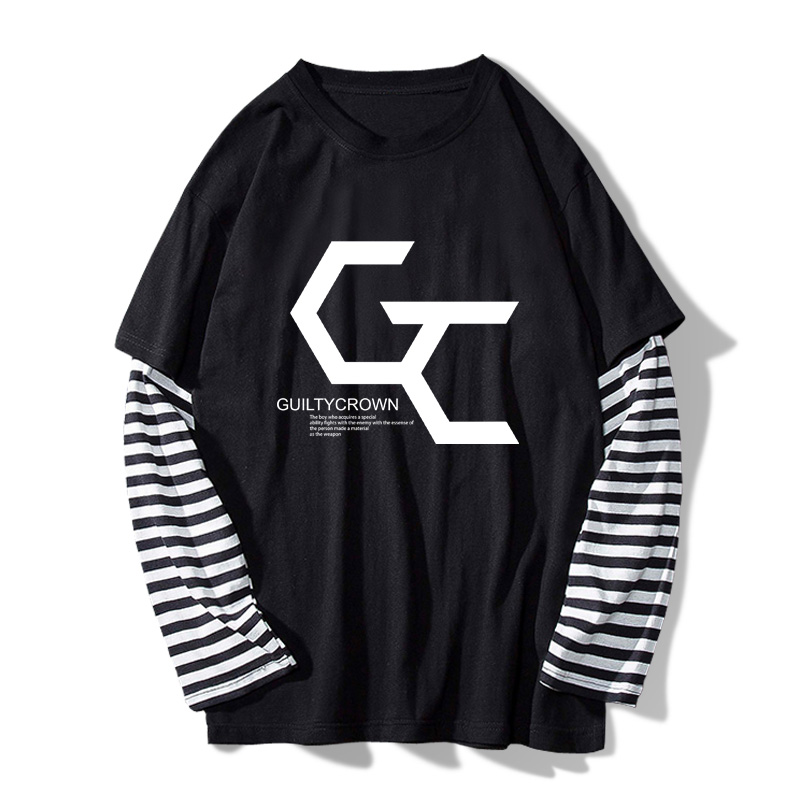 2018 Men's Spring Stripe T-shirt Clothes Anime Guilty Crown Fake 2pcs Sleeve Tee Casual Cotton Long Sleeve O-Neck T-shirt