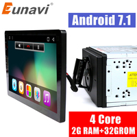 Eunavi 2 din 10.1 inch quad core 2G+32G Android 7.1 Car Radio GPS Navigation with capacitive screen stereo Bluetooth wifi 3g swc