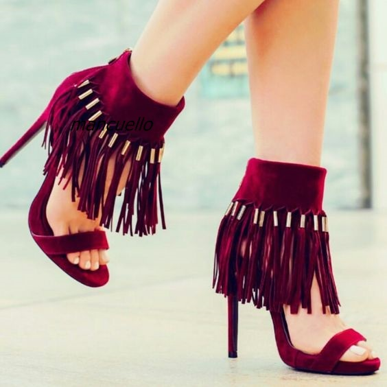 3c9b5072a77 Chic Burgundy Suede Ankle Fringe Sandals Sexy Open Toe Ankle Wrap Tassel Stiletto  Heel Shoes Trendy Dress Sandals New Arrival