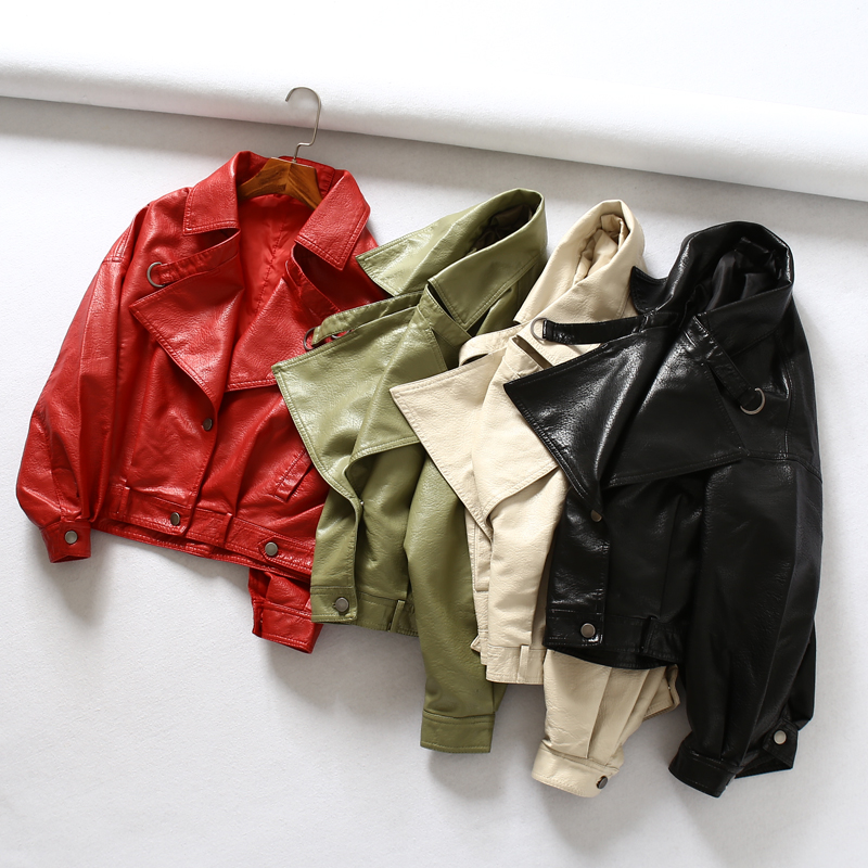Fitaylor Women Faux Leather Jacket Batwing Sleeve Vintage Biker Coat Short Zipper Motor PU Red Jacket Spring Street Leather Coat