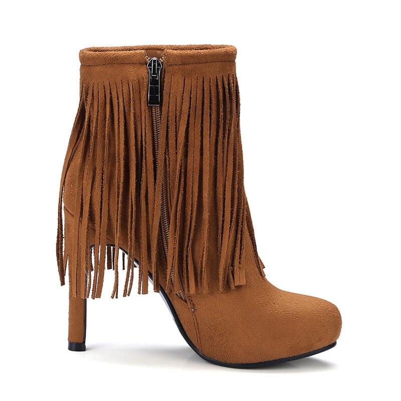 Alto Talla Tobillo De 43 34 Brown 2018 Flecos light Bota Zapatos Tacón Marca Botas Cremallera Negro Para Fino Grande apricot Mujer Moda Otoño 6S0qppAx5n
