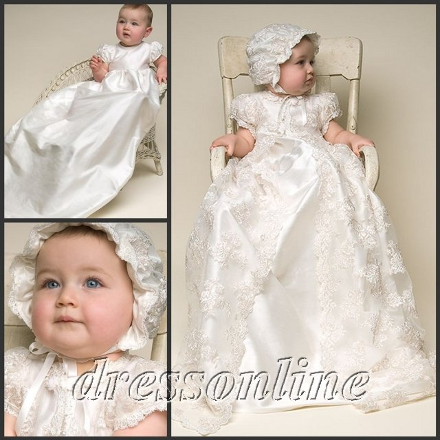 Cheap Custom Made Lovely White And Ivory Lace Baby