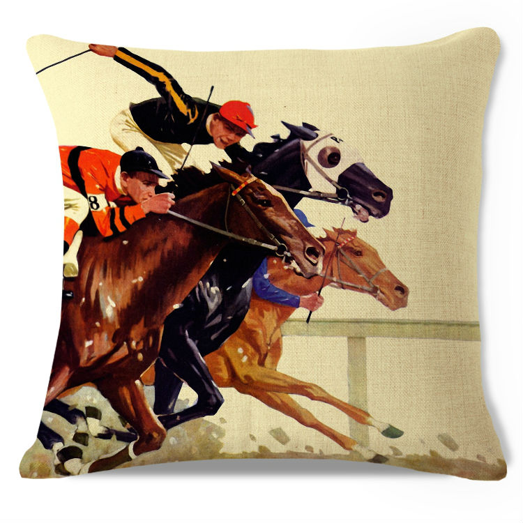 Decorative Throw Pillow Case Vintage Thoroughbred Race