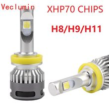 2PCS Car mini led H8 H9 H11 13200lm Headlight 6000K Bulbs Kit HB3 9005 9006 HB4 H4 9012 H7 XHP70 led 110W turbo headlamp 110w set 9200lm car led headlight truck head lamp conversion kit 9005 hb3 6000k white bulbs single beam replace halogen hid kit